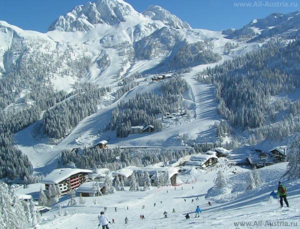 Катание на горных лыжах на курортах Австрии