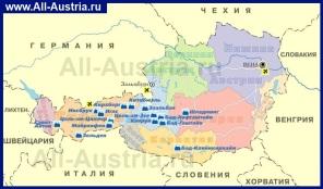 Горнолыжные курорты Австрии на карте