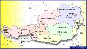 Карта Австрии по федеральным землям