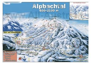 Подробная карта горнолыжного курорта Альпбах с трассами
