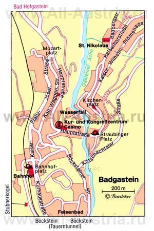 Карта Бад-Гаштайна с достопримечательностями