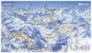 Подробная карта горнолыжного курорта Бад-Гаштайн с трассами