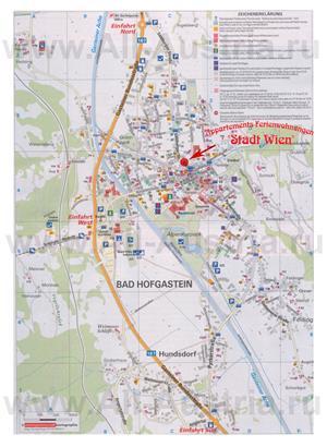 Туристическая карта курорта Бад-Хофгаштайн с отелями