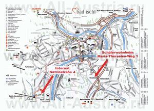 Туристическая карта Бад-Ишля с отелями