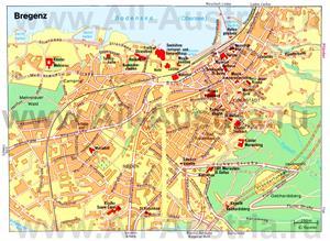 Туристическая карта Брегенца с достопримечательностями