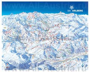 Подробная карта горнолыжного курорта Цюрс с трассами