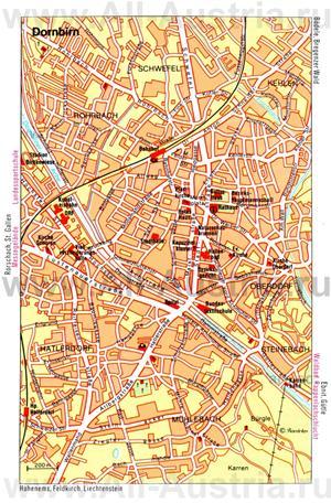 Туристическая карта Дорнбирна с достопримечательностями