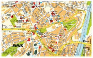 Подробная карта города Энс с достопримечательностями