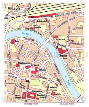 Туристическая карта Филлаха с достопримечательностями