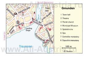 Туристическая карта Гмундена с достопримечательностями