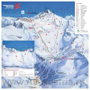 Подробная карта горнолыжного курорта Хинтертукс с трассами