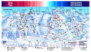 Подробная карта горнолыжного курорта Хохгургль с трассами
