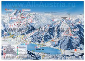 Подробная карта горнолыжного курорта Капрун с трассами
