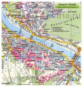 Карта города Зальцбург с достопримечательностями