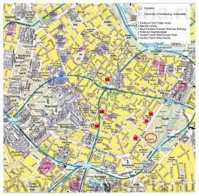 Карта центра Вены с достопримечательностями