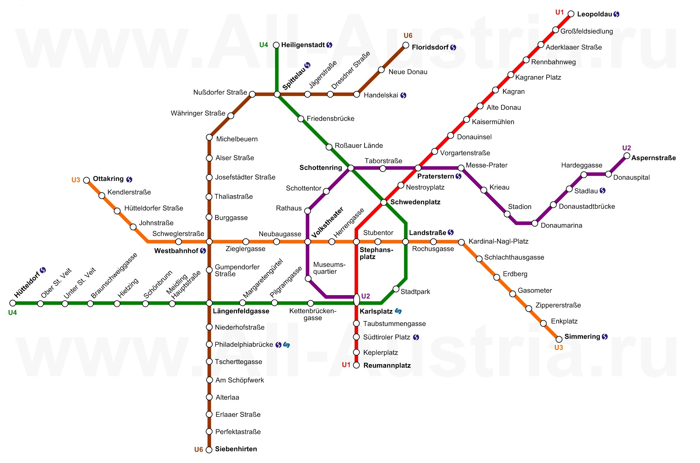 Схема метро вена на русском