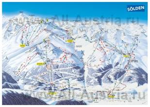 Карта горнолыжного курорта Зёльден с трассами