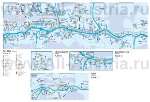 Подробная карта Зёльдена с отелями