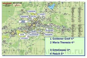 Туристическая карта Китцбюэля с отелями