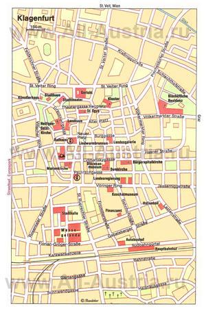 Туристическая карта Клагенфурта с достопримечательностями