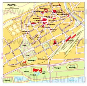 Туристическая карта Кремса с достопримечательностями
