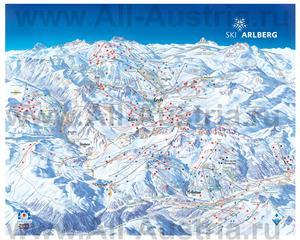 Подробная карта горнолыжного курорта Лех с трассами