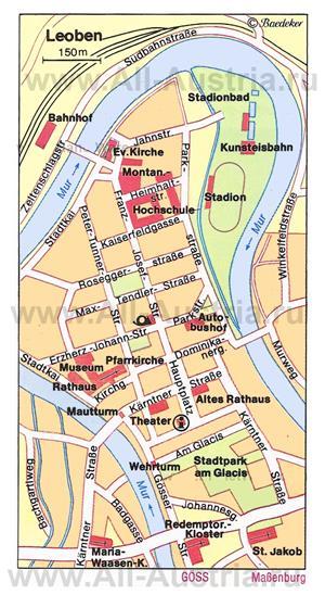 Туристическая карта Леобена с достопримечательностями