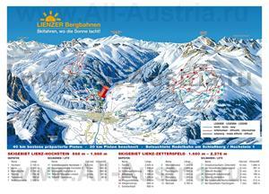 Подробная карта горнолыжного курорта Лиенц с трассами