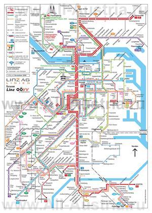 Карта маршрутов транспорта Линца