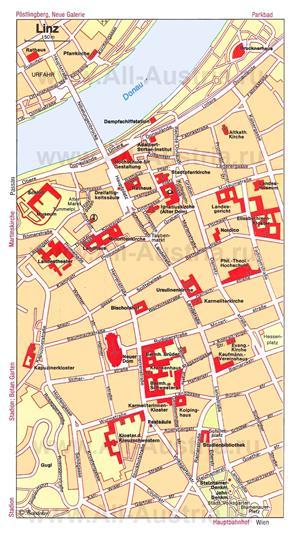 Туристическая карта Линца с достопримечательностями