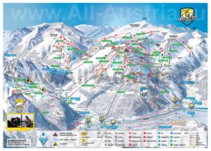 Подробная карта горнолыжного курорта Майрхофен с трассами, склонами и подъемниками