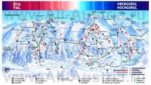 Подробная карта горнолыжного курорта Обергургль с трассами