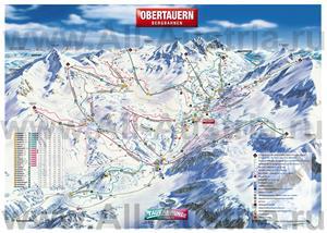 Подробная карта горнолыжного курорта Обертауэрн с трассами
