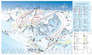 Подробная карта горнолыжного курорта Пицталь с трассами