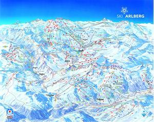 Подробная карта горнолыжного курорта Санкт-Антон с трассами
