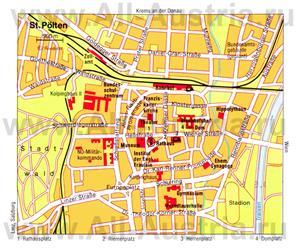 Подробная карта города Санкт-Пёльтен с достопримечательностями