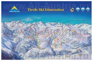 Подробная карта горнолыжного курорта Серфаус с трассами