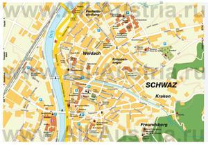 Подробная карта города Швац с достопримечательностями