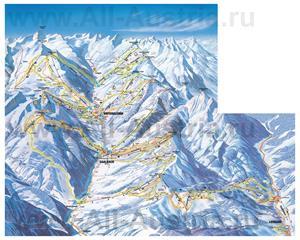 Подробная карта горнолыжного курорта Зальбах-Хинтерглемм с трассами